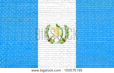 Guatemalan national official flag. Patriotic symbol banner element background. Accurate dimensions. Correct size colors. Flag of Guatemala on brick wall texture background, 3d illustration