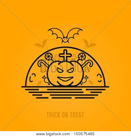 Happy halloween concepts with bats, moon, pumkin. cross and candies. Night party design for banner, graphics, wallpaper, page background, invitation. Trick or Treat. Vector Illustration 31 october