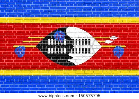 Swazi national official flag. Patriotic symbol banner element background. Accurate dimensions. Correct size colors. Flag of Swaziland on brick wall texture background, 3d illustration