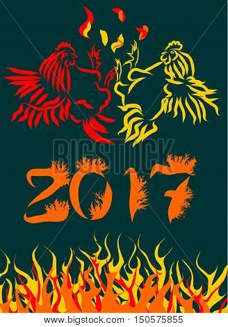 Vector illustration for Chinese New Year of the Rooster 2017.   Year fire rooster. The image of fire on a postcard. Sketch