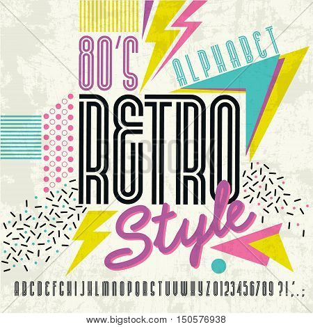 80's retro alphabet font. Retro Alphabet vector Old style graphic. Eighties style graphic template.