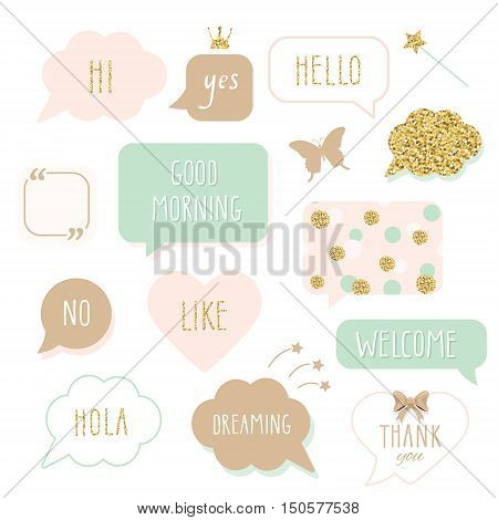 Cute speech bubbles with hand written words. Girly stickers set in pastel pink and gold glitter. Thank You Good Morning Welcome and Hello lettering. Polka dots pattern added in swatches.