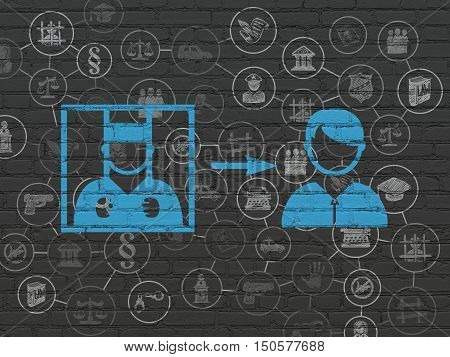 Law concept: Painted blue Criminal Freed icon on Black Brick wall background with Scheme Of Hand Drawn Law Icons