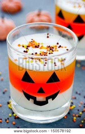 Halloween gelled dessert in a glass jelly candy corn