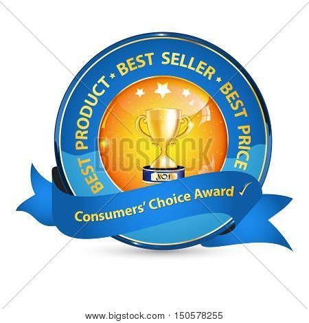 Consumers' Choice Award, best product, best seller - elegant business ribbon with champion cup