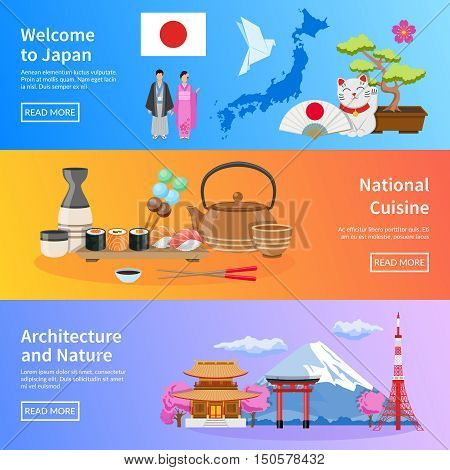 Japanese national cuisine architecture traditions and nature for travelers 3 flat banners webpage design  isolated vector illustration