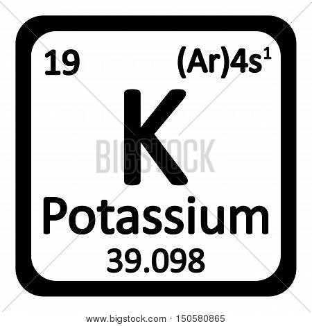 Periodic table element potassium icon on white background. Vector illustration.