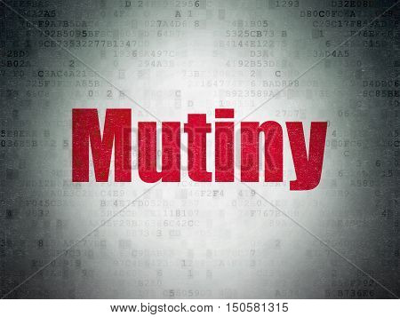 Politics concept: Painted red word Mutiny on Digital Data Paper background