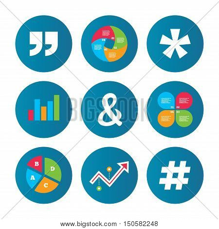Business pie chart. Growth curve. Presentation buttons. Quote, asterisk footnote icons. Hashtag social media and ampersand symbols. Programming logical operator AND sign. Data analysis. Vector