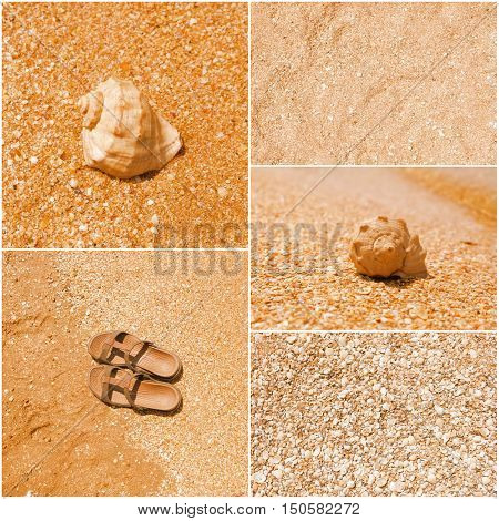 a collage of toned pictures of many beach items - flip-flops, shells, sand, sea water.