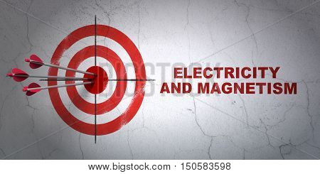 Success Science concept: arrows hitting the center of target, Red Electricity And Magnetism on wall background, 3D rendering