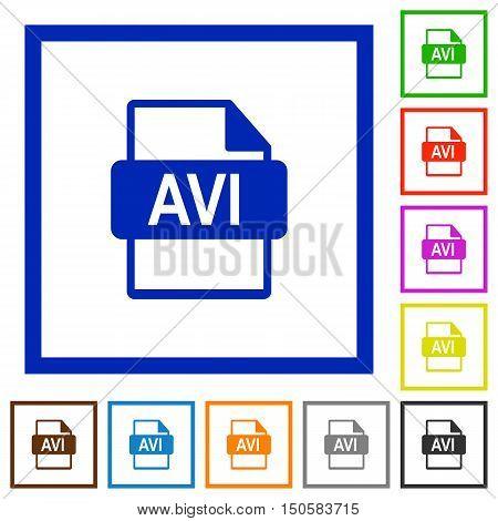 Set of color square framed AVI file format flat icons