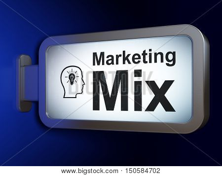 Marketing concept: Marketing Mix and Head With Lightbulb on advertising billboard background, 3D rendering