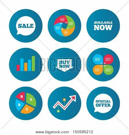 Business pie chart. Growth curve. Presentation buttons. Sale icons. Special offer speech bubbles symbols. Buy now arrow shopping signs. Available now. Data analysis. Vector