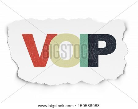 Web design concept: Painted multicolor text VOIP on Torn Paper background