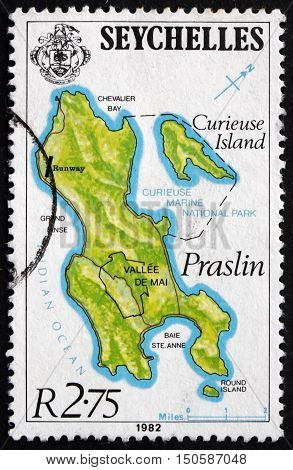 SEYCHELLES - CIRCA 1982: a stamp printed in Seychelles shows Curieuse Island and Praslin circa 1982
