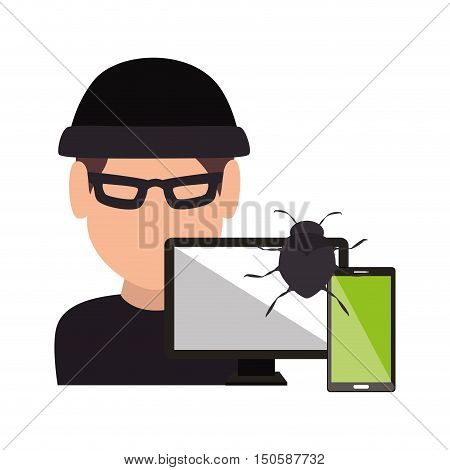 computer and smartphone and avatar man hacker and informatic security system design. vector illustration