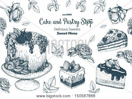 Vector design with ink hand drawn cake pie ice cream and wafers. Vintage template for bakery menu or sweet home shop. Background with dessert sketch. Vector illustration in retro Linear style.