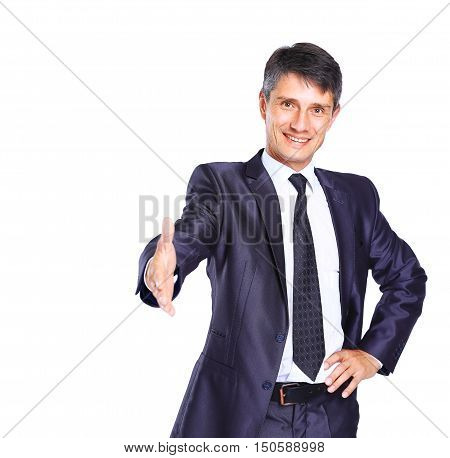 Business man with hand extended to handshake - isolated over white