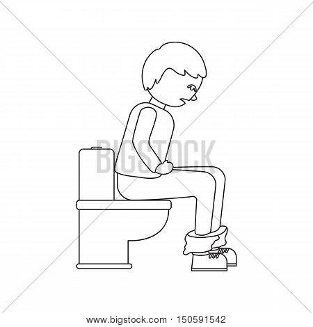 Sick person with diarrhea on toilet icon cartoon.