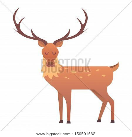 Cute deer cartoon comic wild vector character. Vector wild mammal cartoon deer celebration, humor mascot. Elk antler clip art holiday symbol stag nature cartoon deer forest animal. Christmas deer poster