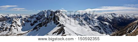 A Wide Panorama of Snowy Mountain Peaks.  Temple Basin, Arthurs Pass, Southern Alps, New Zealand