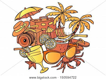 Cartoon pattern summer vacation objects with a white background