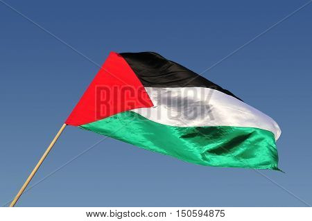 The Palestinian state flag waves in the wind with blue sky background.