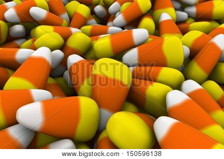 Halloween Candy Corn Sweets Background 3D Illustration