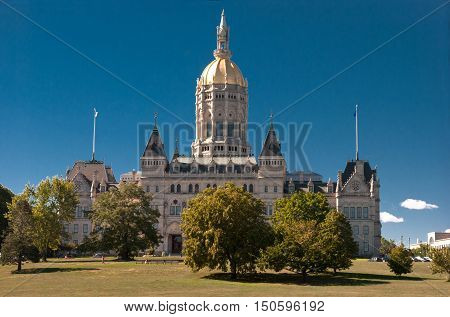 Connecticut State Capitol building is located north of Capitol Avenue and south of Bushnell Park in Hartford the capital of Connecticut. The current building is the third capitol building for the State of Connecticut since the American Revolution.