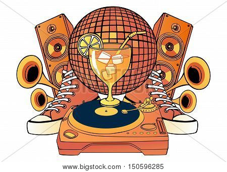 Cartoon pattern music party objects with a white background