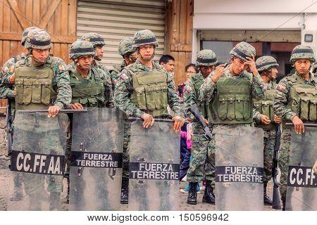 Banos De Agua Santa Ecuador - 23 June 2016: Ecuadorian Army Welcoming To The President Of The Ecuador In Banos De Agua Santa Ecuador South America