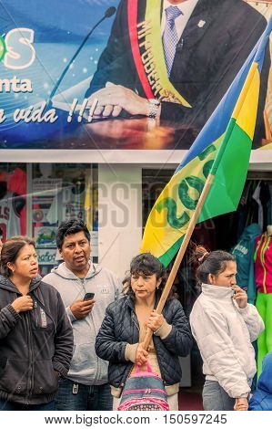 Banos De Agua Santa Ecuador - 23 June 2016: Group Of Supporters Waiting For The President Rafael Correa Delgado To Enter In Banos De Agua Santa Ecuador South America
