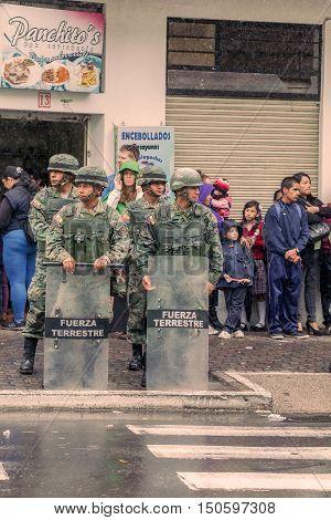 Banos De Agua Santa Ecuador - 23 June 2016: Army Of Ecuador Welcoming The President Rafael Correa In Banos De Agua Santa Ecuador South America