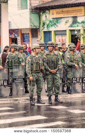 Banos De Agua Santa Ecuador - 23 June 2016: Force Ground Welcoming To The President Of The Ecuador Rafael Correa Delgado In Banos De Agua Santa Ecuador South America