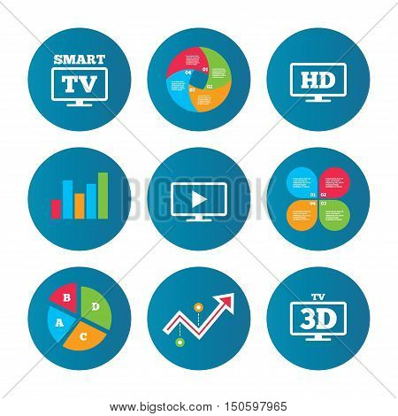 Business pie chart. Growth curve. Presentation buttons. Smart TV mode icon. Widescreen symbol. High-definition resolution. 3D Television sign. Data analysis. Vector
