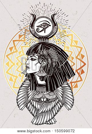 Portrait of a beautiful egyptian goddess or princess. Cleoptra or Nefertiti with winged necklace and god Ra crown on her head. Spirituality, occultism, tattoo art. Isolated vector illustration.