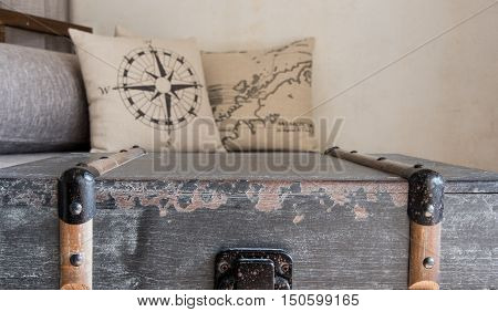 Wooden Chest And Pillow Background