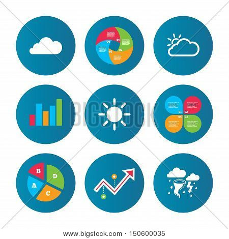 Business pie chart. Growth curve. Presentation buttons. Weather icons. Cloud and sun signs. Storm or thunderstorm with lightning symbol. Gale hurricane. Data analysis. Vector