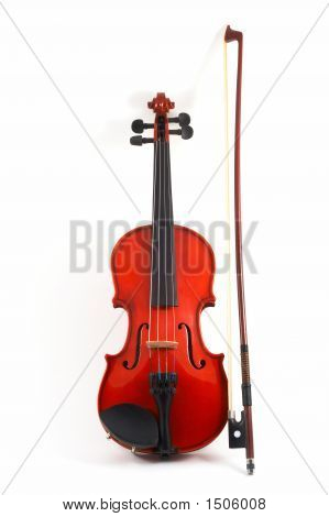 Violin With Bow Upright On White Background