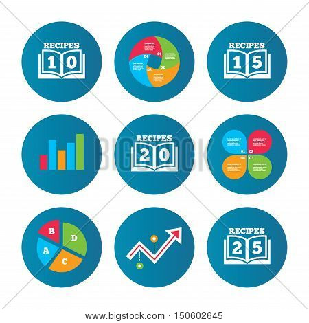 Business pie chart. Growth curve. Presentation buttons. Cookbook icons. 10, 15, 20 and 25 recipes book sign symbols. Data analysis. Vector