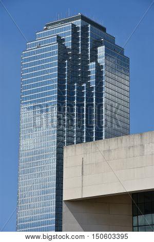 DALLAS, TX - SEP 17: The Bank of America Plaza skyscraper in Dallas, Texas, as seen on Sep 17, 2016.  It is the tallest skyscraper in the city.