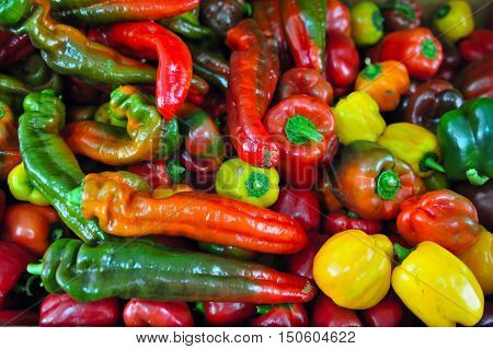 Mixed vegetables of red and green chillies and capsicums