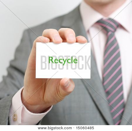 A business man telling you to recycle