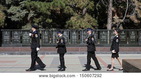 PYATIGORSK, RUSSIA - OCTOBER 6: Guard of honor passes near memorial