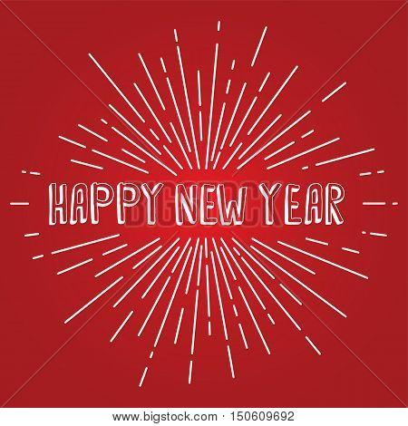 Happy New Year Text Show Sunrays Retro Theme