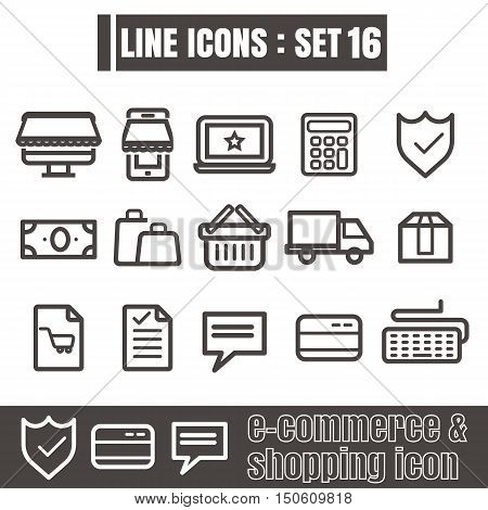 icon e-commerce & shpoping line black Modern Style vector on white background
