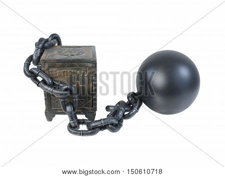 Vintage safe secured by ball and chain - path included