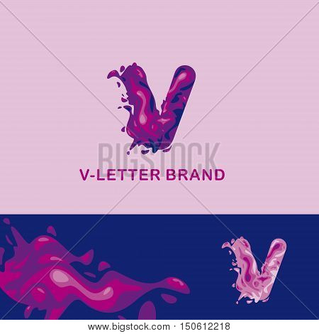 Template trade brand V  company. Corporate style for the letter V: logo, background. Creative logo, liquid letter V