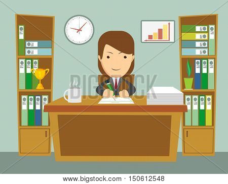Office worker at work. Happy smiling woman sitting at the desktop. Office interior. Long work hours. Stock flat vector illustration
